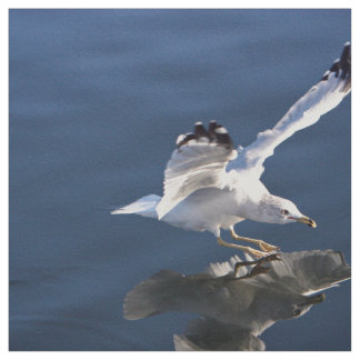 gorgeous seagull landing on the sea fabric