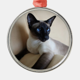 Gorgeous Siamese Cat Face Silver-Colored Round Decoration