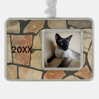 Gorgeous Siamese Cat Face Silver Plated Framed Ornament