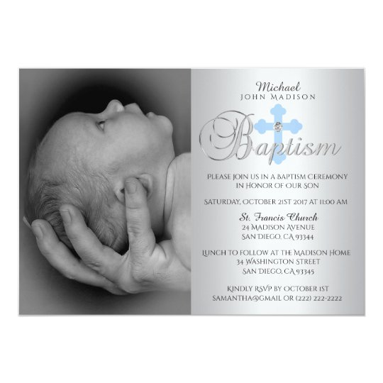 Gorgeous Silver Blue Cross Boy PHOTO Baptism Card