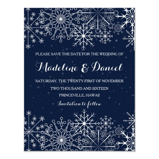 gorgeous snowflakes winter save the date cards zazzle co uk