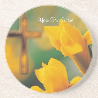 Gorgeous Spiritual Yellow-Gold Lily With Dew Coasters