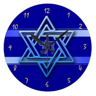 Gorgeous Star of David On blue Background jewish Large Clock