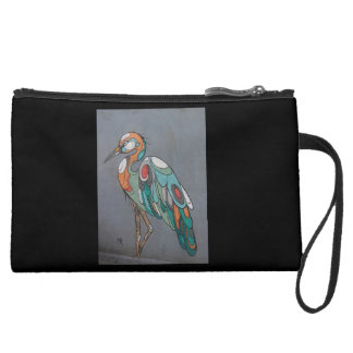 Gorgeous suede purse with mosaic crane