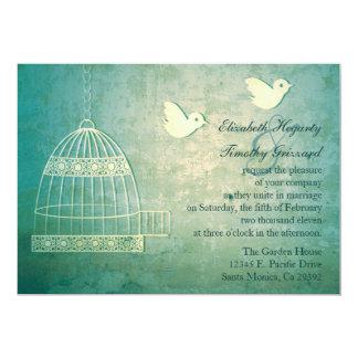 Gorgeous Teal Birdcage Wedding Invitation