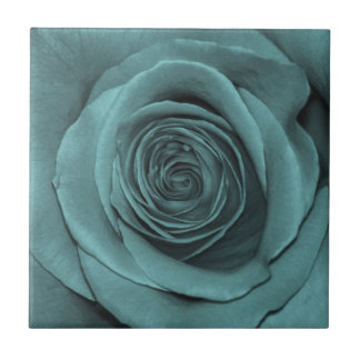 Gorgeous Teal Colored Rose Tile