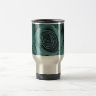 Gorgeous Teal Colored Rose Travel Mug
