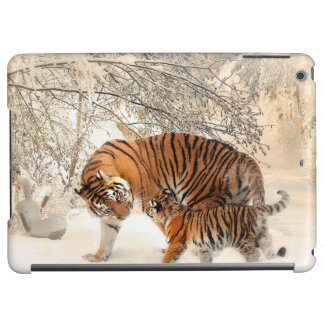 Gorgeous tiger and cub in snow