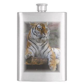 Gorgeous tiger lying down hip flask
