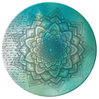 Gorgeous Turquoise Mandala Vintage Letter Plate
