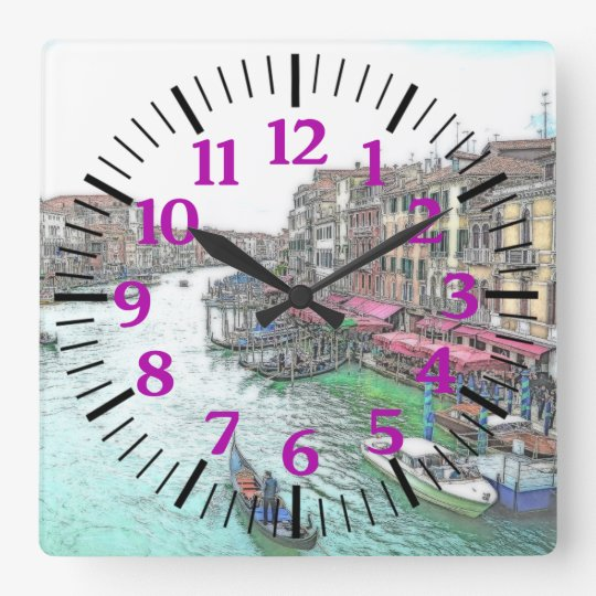 Gorgeous Venice Italy with Purple Numerals Square Wall