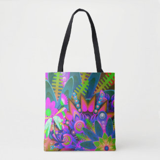 Gorgeous Vibrant Abstract Floral Tote Bag
