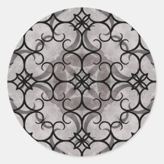 Gorgeous victorian gothic pattern gray and black round sticker