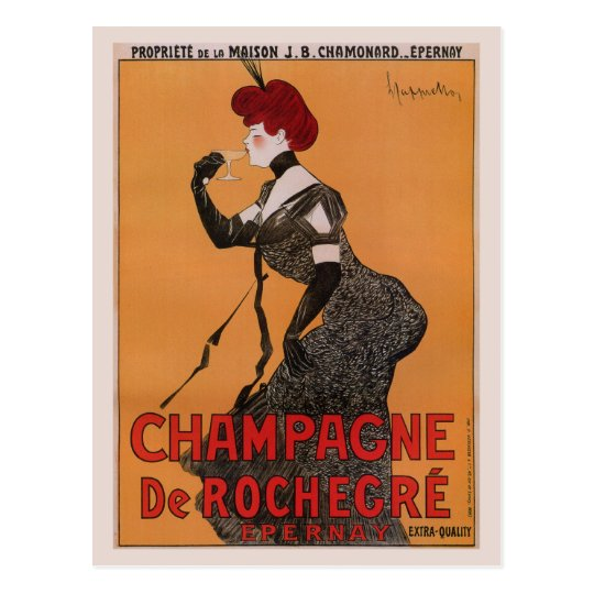 Gorgeous vintage art nouveau French champagne ad Postcard