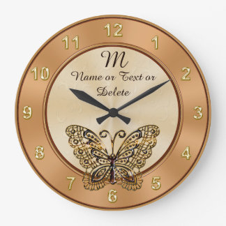 Gorgeous Vintage Gold Butterfly Clock PERSONALIZED