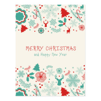 Gorgeous Vintage style Merry Christmas greeting Postcard