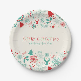 Gorgeous Vintage style Merry Christmas greeting 7 Inch Paper Plate