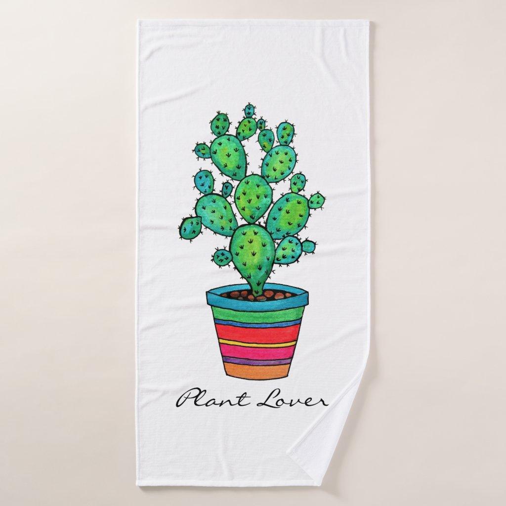 Gorgeous Watercolor Cactus In Beautiful Pot Bath Towel