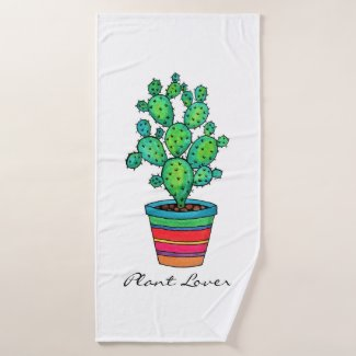Gorgeous Watercolor Cactus In Beautiful Pot Bath Towel