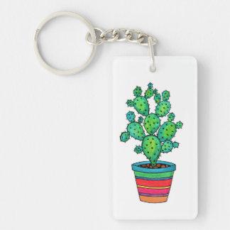 Gorgeous Watercolor Cactus In Beautiful Pot Key Ring