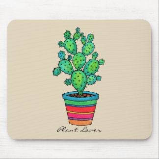 Gorgeous Watercolor Cactus In Beautiful Pot Mouse Mat