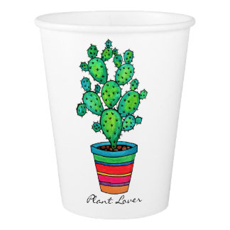 Gorgeous Watercolor Cactus In Beautiful Pot Paper Cup