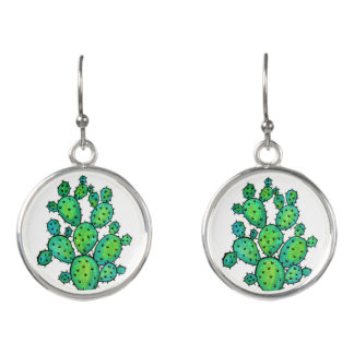 Gorgeous Watercolor Prickly Cactus Earrings