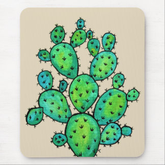 Gorgeous Watercolor Prickly Cactus Mouse Mat
