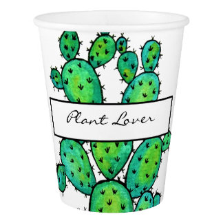 Gorgeous Watercolor Prickly Cactus Paper Cup