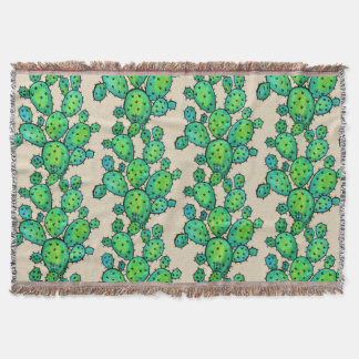 Gorgeous Watercolor Prickly Cactus Throw Blanket