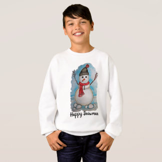 Gorgeous watercolor snowman with scarf and hat sweatshirt