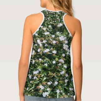 Gorgeous White Floral Nature Print Design Tank Top