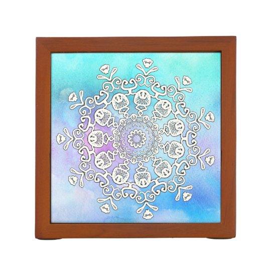 *~* Gorgeous White Mandala on Turquoise Watercolor Desk