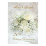 Gorgeous white roses 30th Wedding Anniversary Personalized Invitation