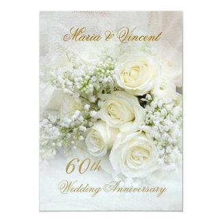 Gorgeous white roses 60th Wedding Anniversary 13 Cm X 18 Cm Invitation Card