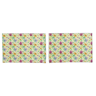 Gorgeous Wild Flowers Pattern Pillow Case Set