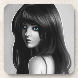 Gorgeous Woman Girl Portrait Digital Art Drink Coaster