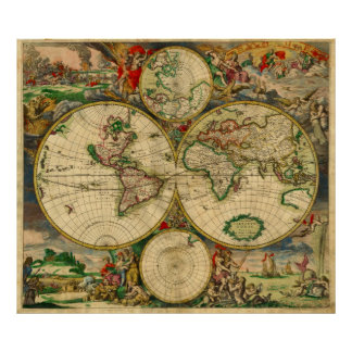 Gorgeous Work Of Art Vintage Old World Maps Poster