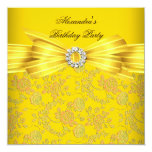 Gorgeous Yellow Rose Damask Birthday Party Personalised Invitations