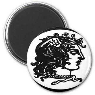 Gorgon / Medusa 6 Cm Round Magnet