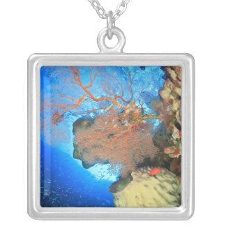 Gorgonian sea fans, Gunung Api Island, Banda Square Pendant Necklace