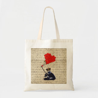 Gorilla and heart balloons tote bags