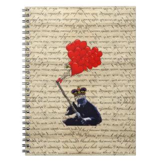 Gorilla and heart balloons notebook