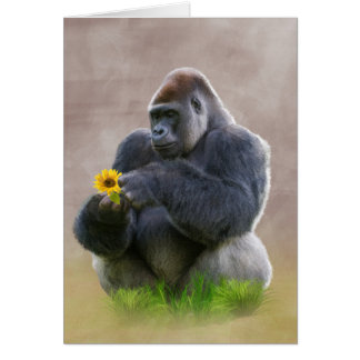 Gorilla and Yellow Daisy Card