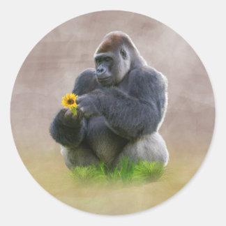 Gorilla and Yellow Daisy Classic Round Sticker