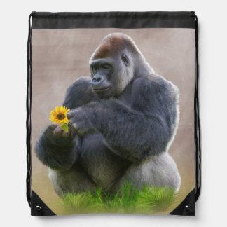 Gorilla and Yellow Daisy Drawstring Backpack