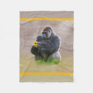 Gorilla and Yellow Daisy Fleece Blanket