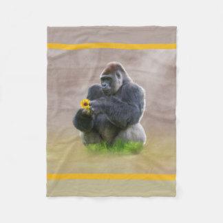 Gorilla and Yellow Daisy Fleece Blanket