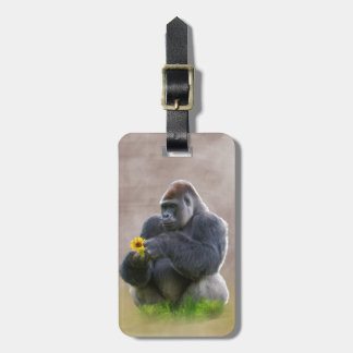 Gorilla and Yellow Daisy Luggage Tag