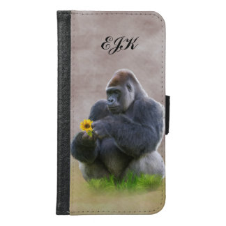 Gorilla and Yellow Daisy, Monogram Samsung Galaxy S6 Wallet Case